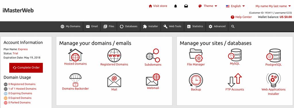 Imasterweb Hosting Account