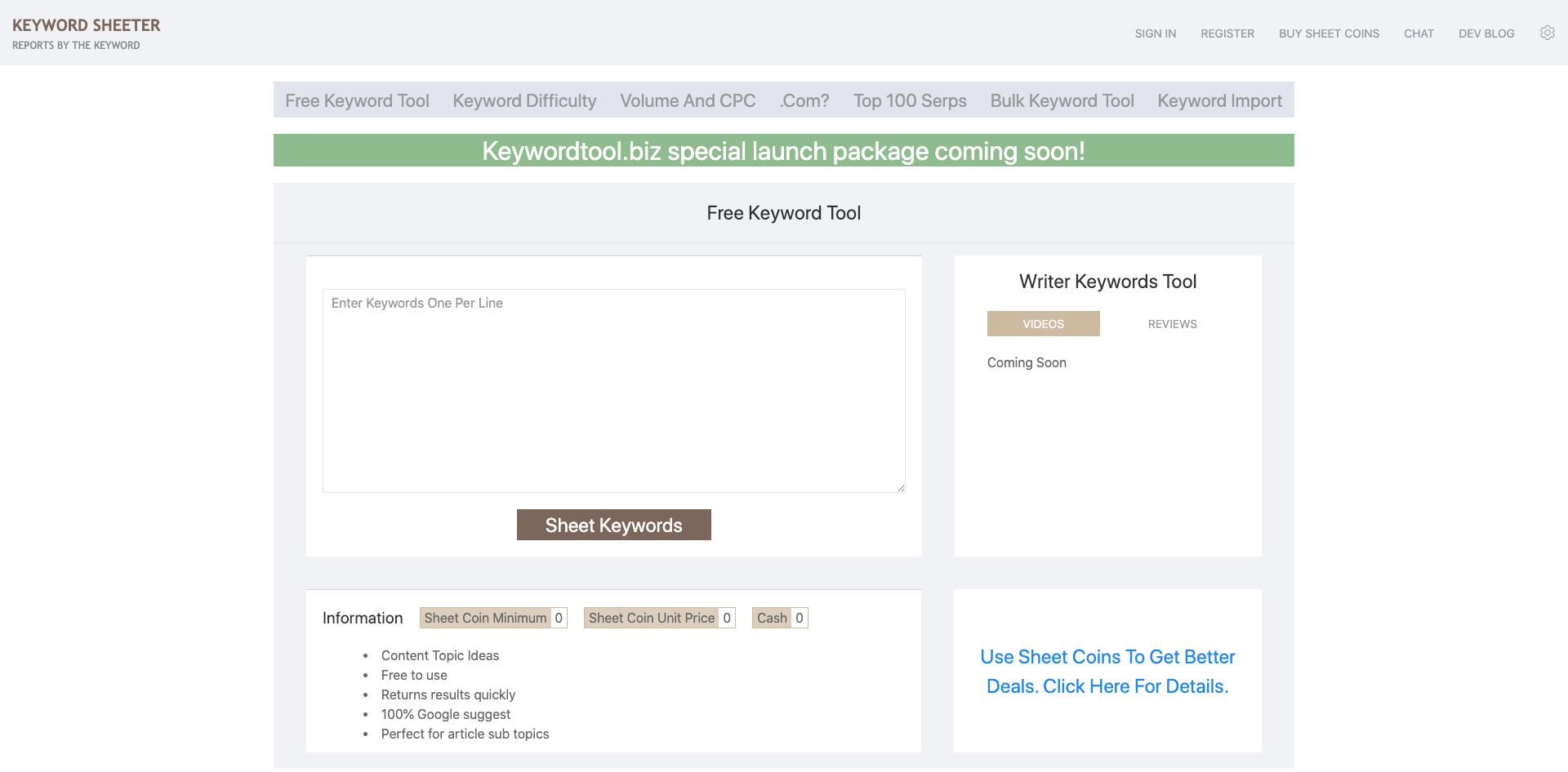 keywordsheeter.com