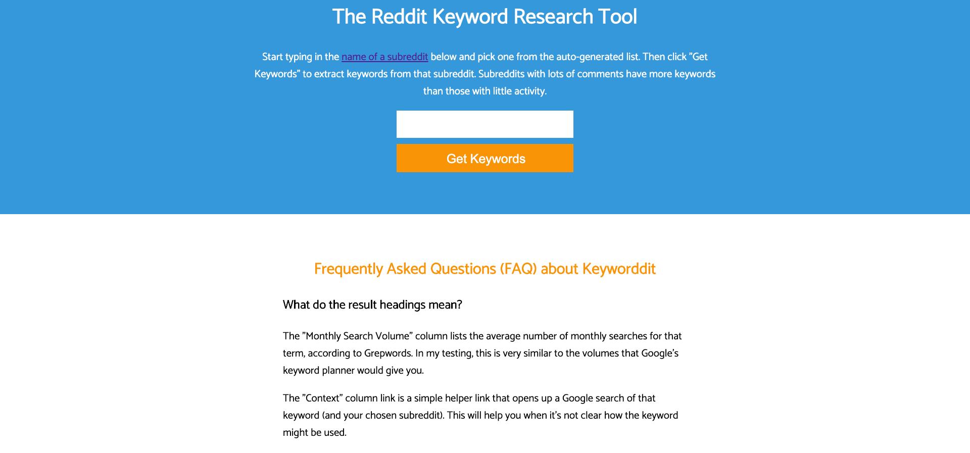 The Reddit Keyword Research Tool