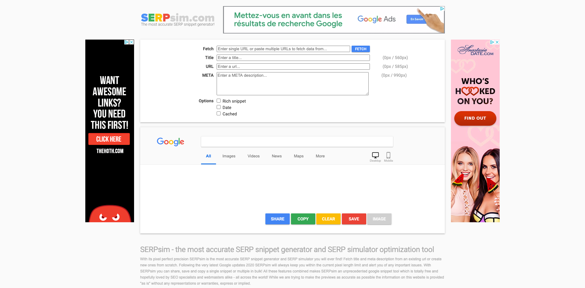 SERPsim - the most accurate SERP snippet generator and SERP simulator optimization tool