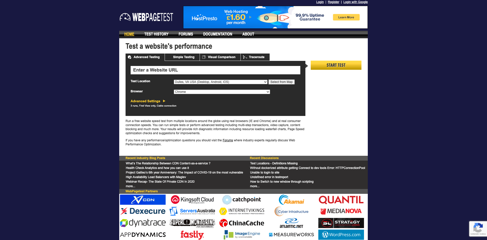 Test a website's performance