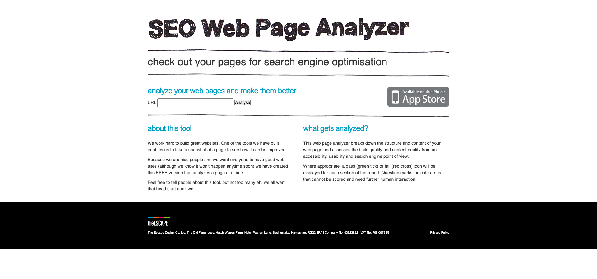check out your pages for search engine optimisation